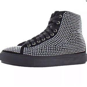 🖤🔥Donald J. Pliner-Black ChromeVelvet Sneakers 7